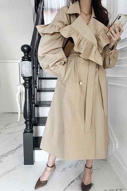 法式英倫風荷葉翻領雙排釦風衣外套*卡其