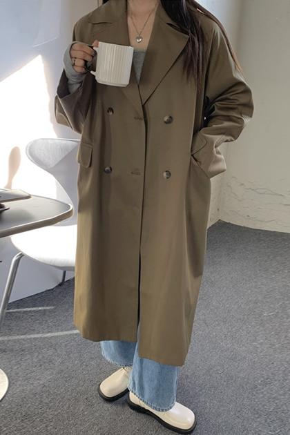 俐落加長雙排扣西裝外套大衣*2色