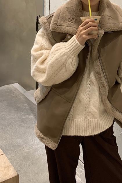 翻領毛絨拼接皮革罩衫背心