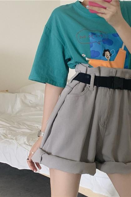復古高腰反折牛仔短褲/附腰帶*2色