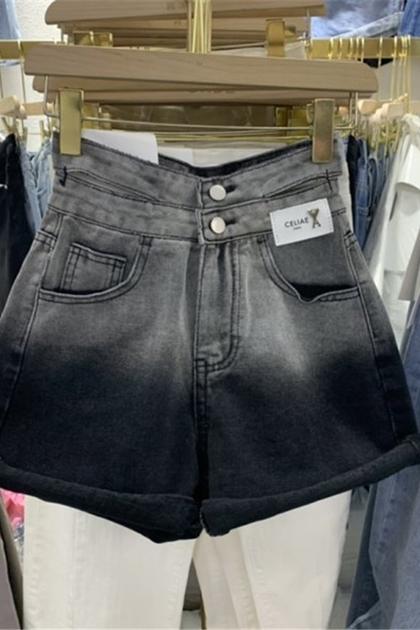 雙釦造型暈染牛仔短褲*S_XL