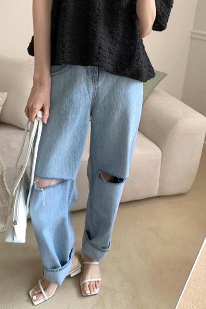 寬鬆顯瘦帥氣割破洞高腰牛仔寬褲*SML