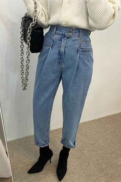 復古水洗藍壓褶兩扣高腰顯瘦老爹直筒牛仔褲*SML
