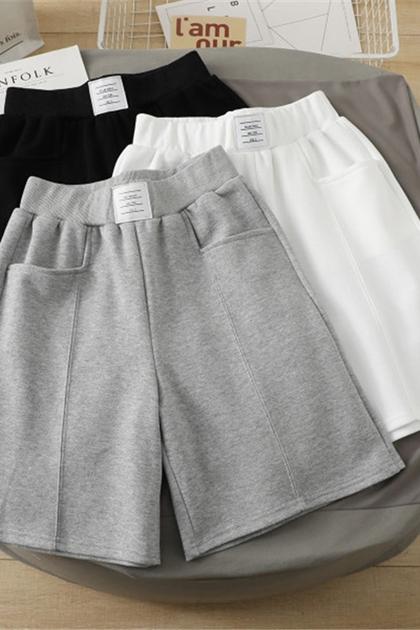 標籤貼布造型休閒短褲*3色M-2L