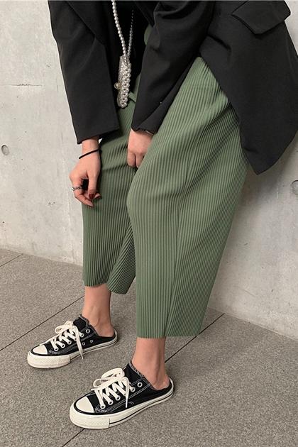 顯瘦壓紋彈性腰寬褲*6色