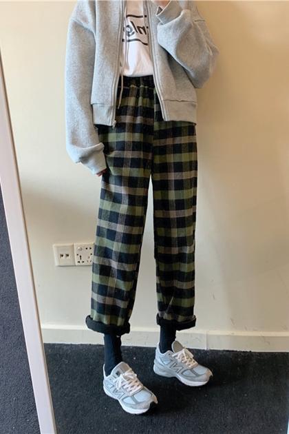 保暖刷絨格紋長褲*3色