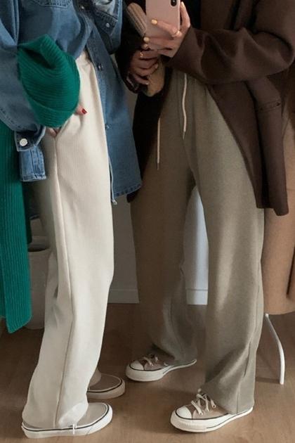 高腰顯瘦針織寬褲直筒長褲*4色SML