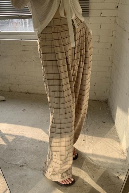 溫柔奶茶細格紋打摺寬褲