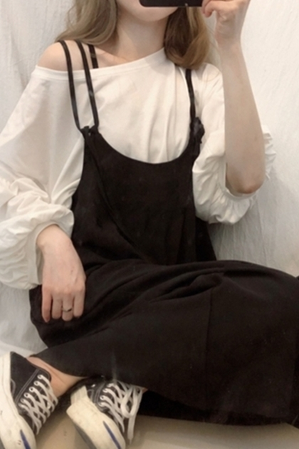 Chic百搭寬鬆厚片女孩可以穿純色綁帶連身吊帶褲 *2色
