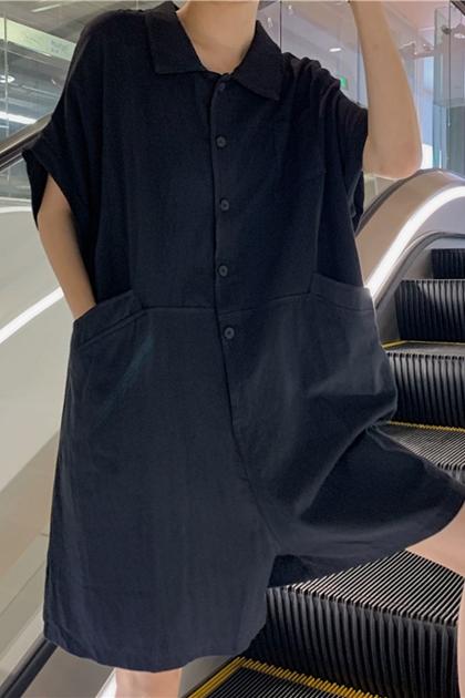 造型大口袋寬鬆連身褲*2色