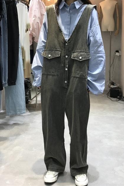 復古寬鬆造型牛仔連身褲吊帶褲*3色