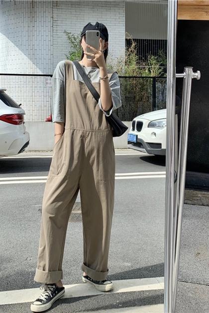 寬鬆顯瘦減齡高腰工裝直筒寬褲吊帶褲*灰綠