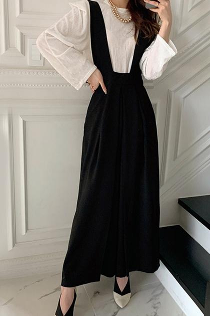 高腰壓褶設計寬褲背帶連身褲*2色