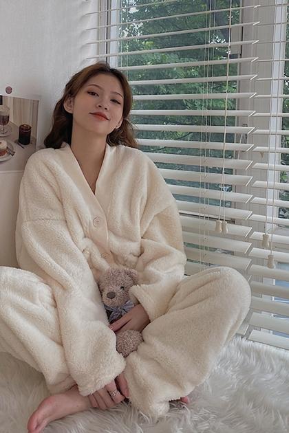 暖呼呼絨毛家居服睡衣套裝
