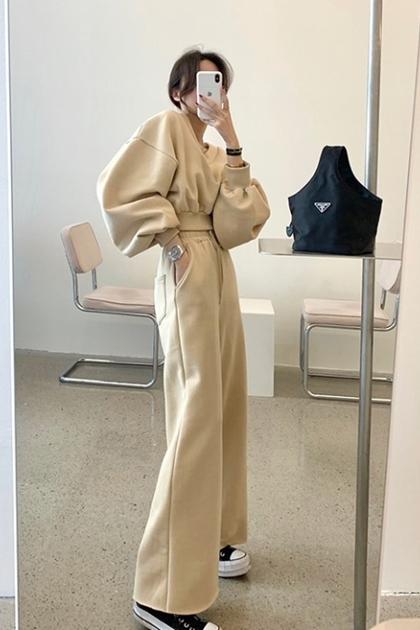 法式輕熟裸色V領衛衣刷毛大學T+刷毛衛衣彈性褲/套裝