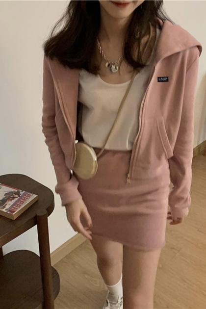 韓俏妞連帽外套+窄裙/套裝2