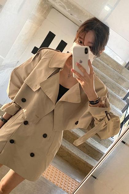 復古雙排釦風衣外套+窄裙/套裝*2色SM