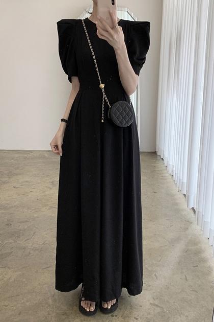 法式修身壓褶高腰泡泡袖連身洋裝*2色