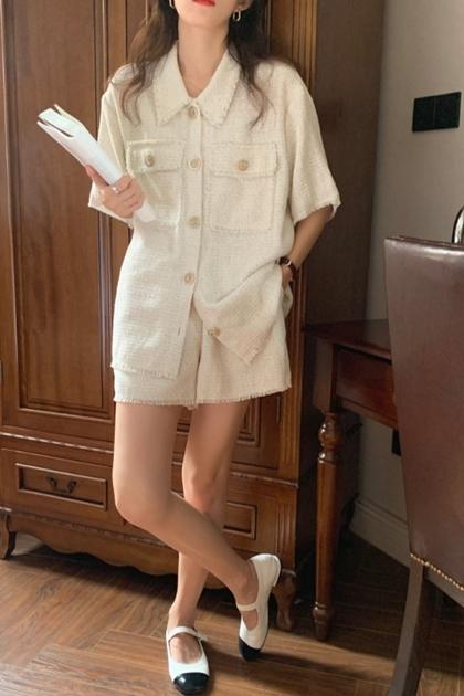 小香風鬚邊上衣外套+短褲/套裝
