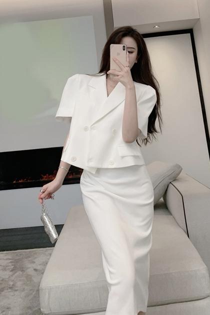 溫柔氣質方領背心洋裝+西裝外套套裝*SML