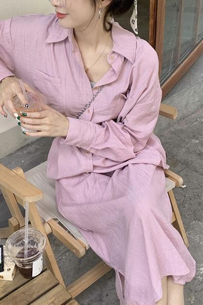 同色系搭配可鹹可甜溫柔粉襯衫+裙/套裝