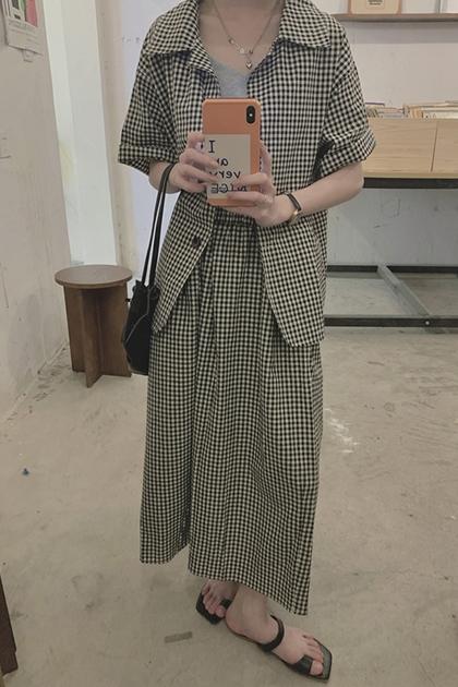 棋盤格紋西裝領襯衫+裙/套裝