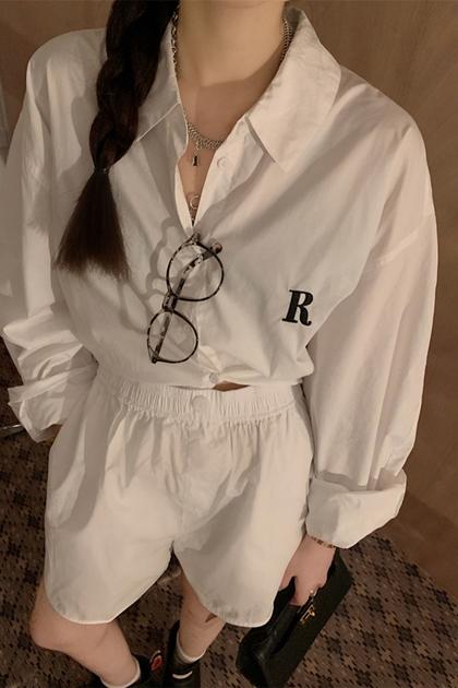 純潔感字母印圖襯衫+同色系短褲/套裝