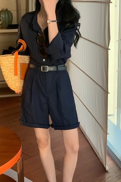 雅痞深藍襯衫+同色系短褲/套裝