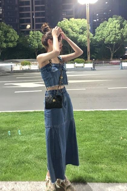 復古造型吊帶牛仔背心+牛仔裙/套裝*SM