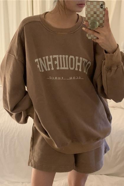 美式字母印圖衛衣大學T+衛衣短褲/套裝*2色