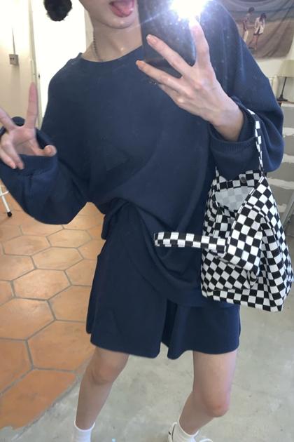 W貼布造型衛衣大學T+短褲/套裝*3色
