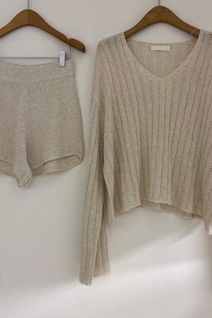 W慵懶V領針織衫+針織褲/套裝*S-XL