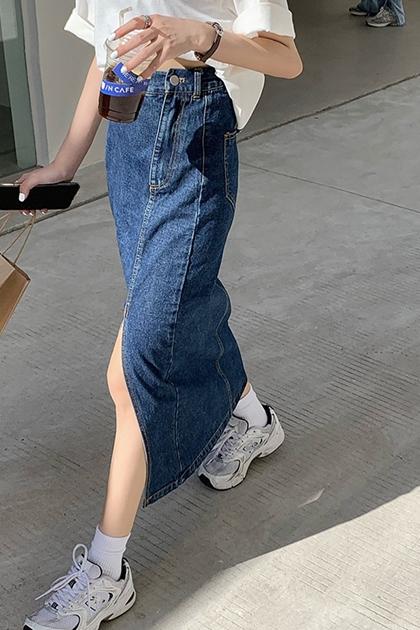高腰顯瘦不規則開岔包臀牛仔窄裙*2色SML
