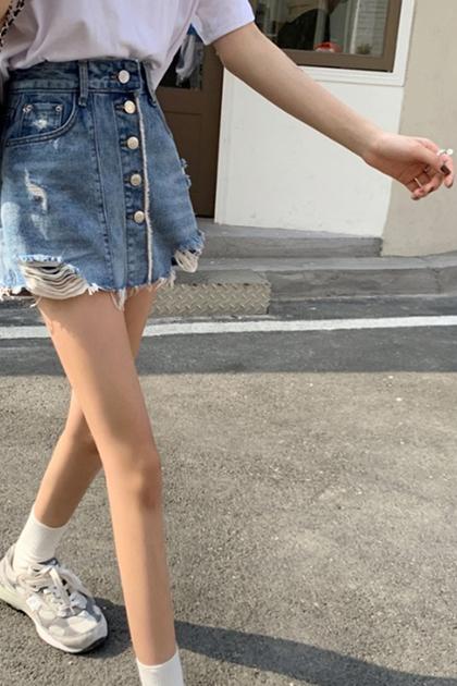 設計感高腰顯瘦破損防走光牛仔短裙褲裙*SMLXL