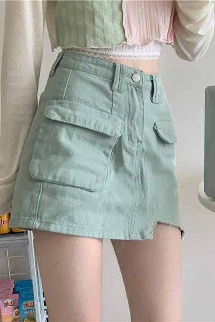 造型剪邊口袋裙*2色SML