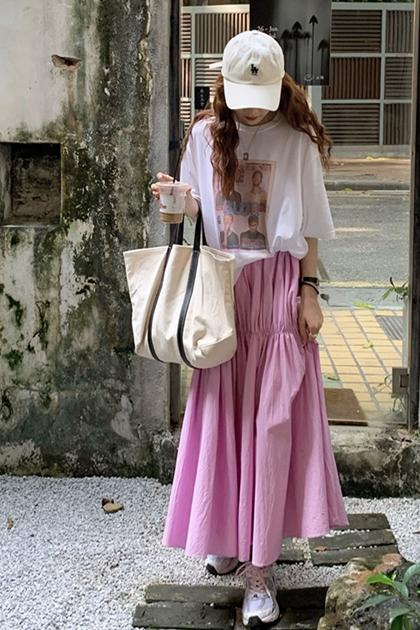 粉紅少女心抓摺裙