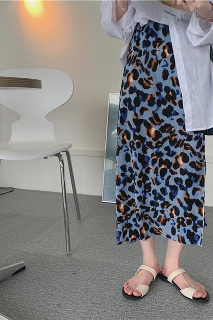 彩色豹紋開岔裙