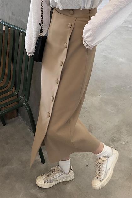 優雅排釦窄裙*2色SML