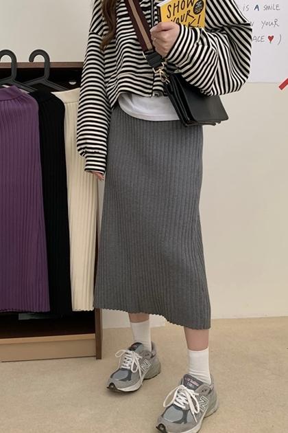 高腰顯瘦坑條針織包臀窄裙*4色