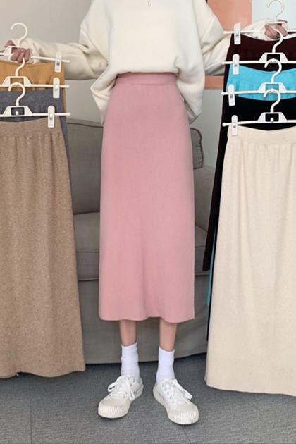 高腰顯瘦開岔中長款針織包臀裙A字裙*8色