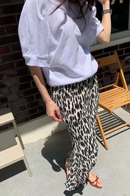 褶皺圖紋半身裙