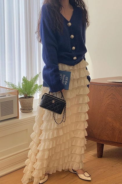 荷葉蛋糕長裙