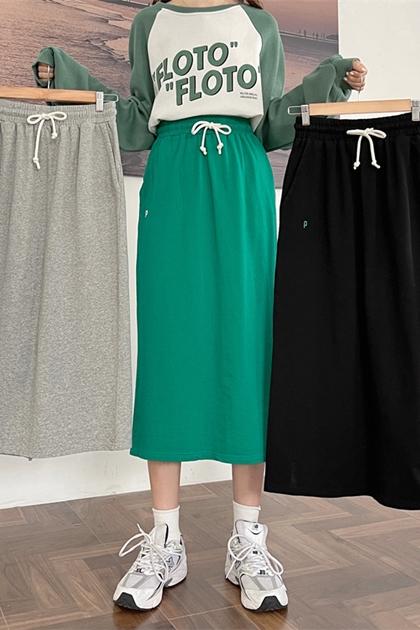 彈性後開岔衛衣料裙*3色