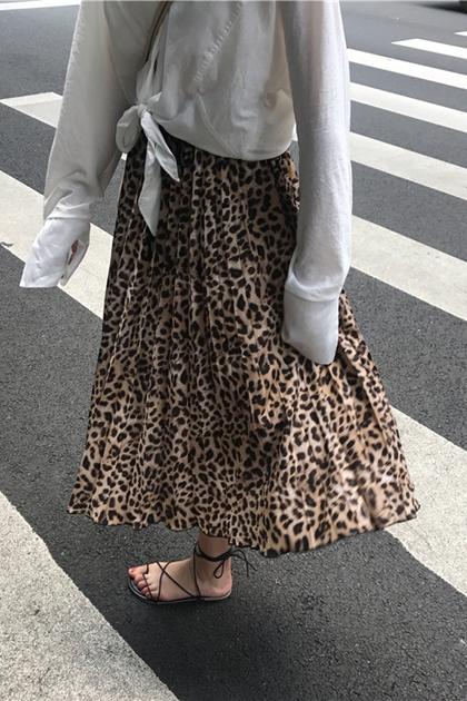 法式豹紋雪紡百摺裙