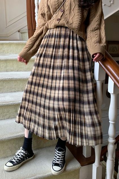 復古格紋百摺長裙*3色