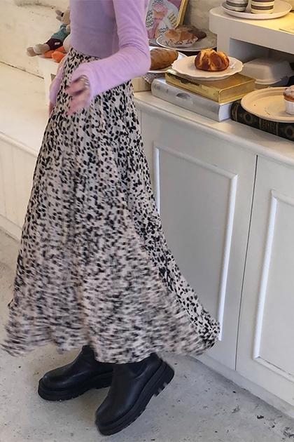 豹紋皺摺長裙