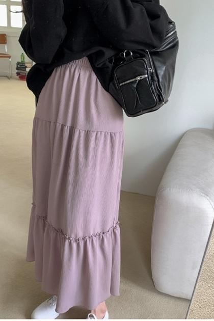 荷葉鬆緊長裙*2色