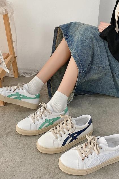 簡單舒服厚底配色小白鞋*3色36~40