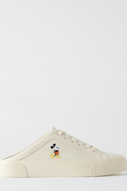 可愛米奇印圖帆布鞋懶人鞋穆勒鞋*36-40