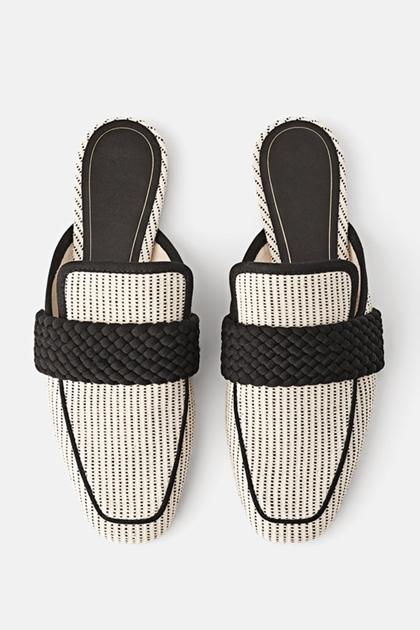 配色編織拼接平底穆勒鞋*36-41